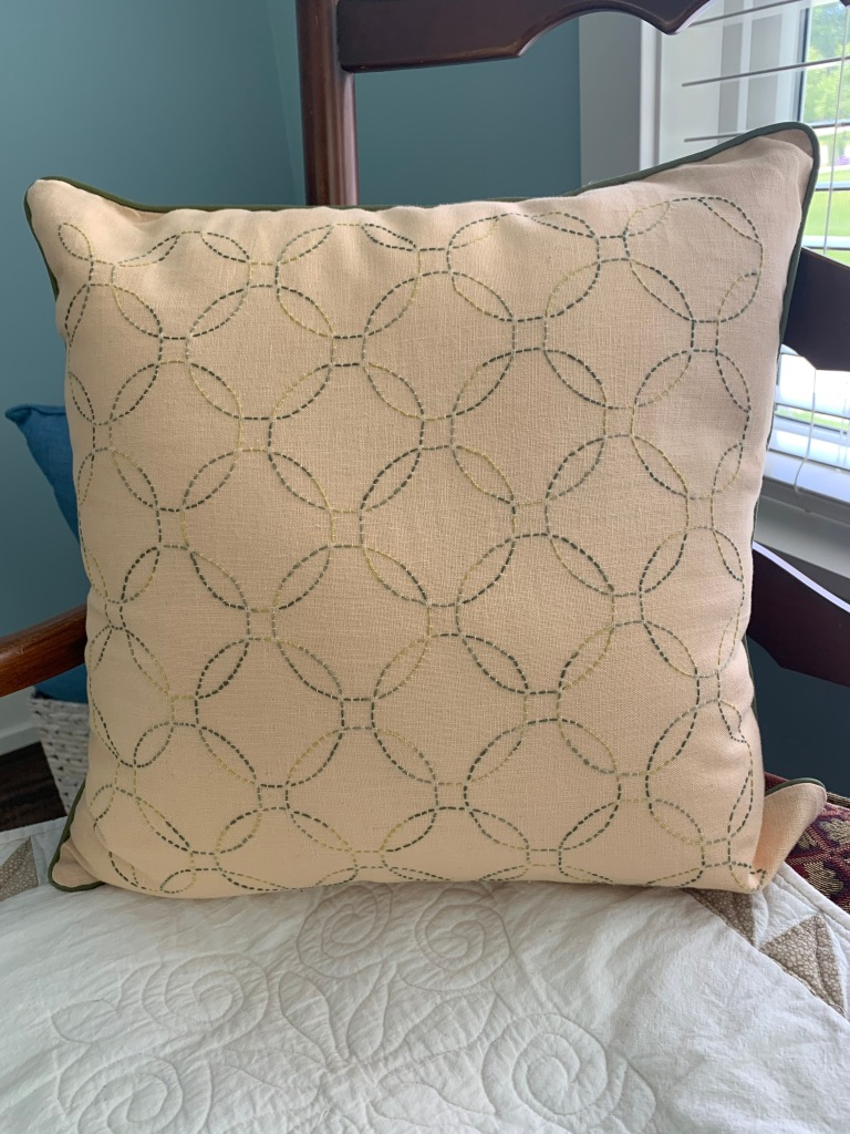 Bridget: Sashiko pillow--I've always wanted to try this form of quilting...this was such fun!  It uses fabric from my mother's collection of Asian prints for the reverse side of the pillow.