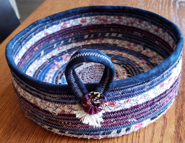First try at a fabric covered rope bowl - Using up scraps! - Janet H